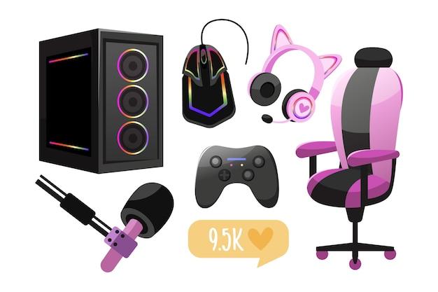 Elementos de conceito de streamer de jogo de desenho animado