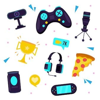 Elementos de conceito de streamer de jogo de ilustração plana