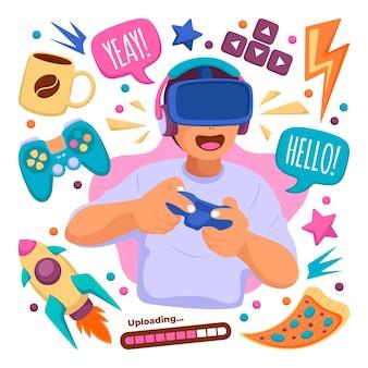 Elementos de conceito de streamer de jogo ilustrados