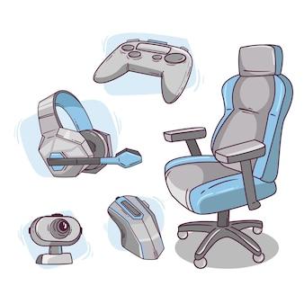 Elementos de conceito de streamer de jogo simples