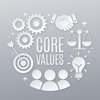 Elementos de conceito de valores centrais de estilo de papel