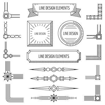 Elementos de contorno linear retro quadros cantos emblemas fronteiras formas geométricas