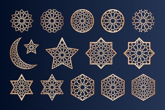Elementos de corte a laser com padrão islâmico.