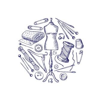 Elementos de costura de mão desenhada reunidos em ilustração de círculo isolado no branco