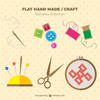 Elementos de costura em design plano