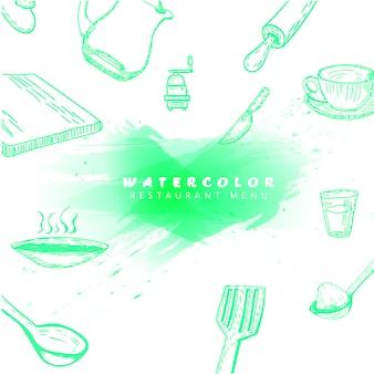 Elementos de cozinha aquarela