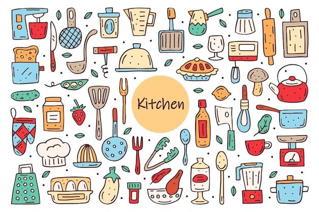 Elementos de cozinha bonitos doodle desenhado à mão. equipamentos de cozinha, alimentos, utensílios de cozinha