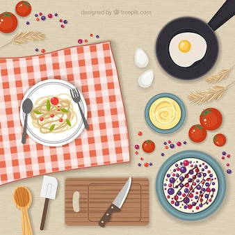 Elementos de cozinha e alimentos