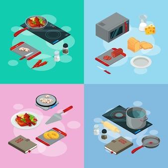 Elementos de cozinha. ilustração em vetor isométrica comida cozinhar