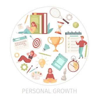 Elementos de crescimento pessoal em um círculo
