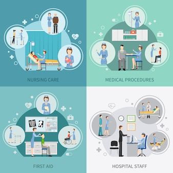 Elementos de cuidados de saúde de enfermeira e personagens