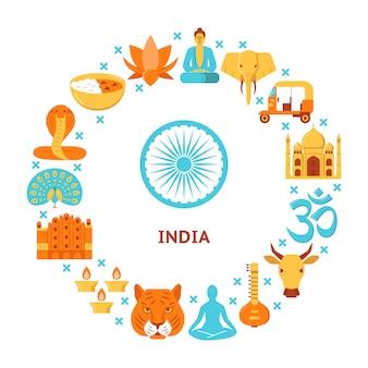 Elementos de cultura da índia com composição arredondada