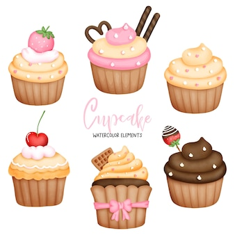 Elementos de cupcakes em aquarela de pintura digital Vetor Premium