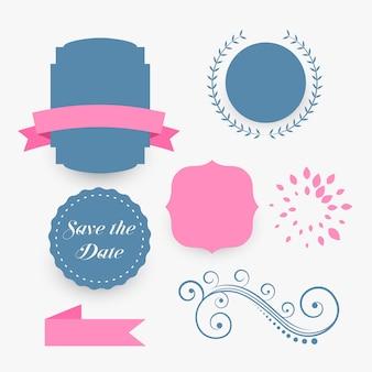 Elementos de decoração de casamento azul e rosa
