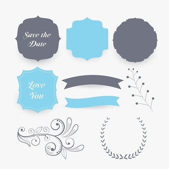 Elementos de decoração de casamento e rótulos