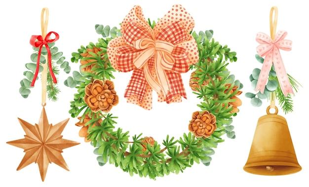 Elementos de decoração de guirlandas de natal ilustrações e estilos de aquarela