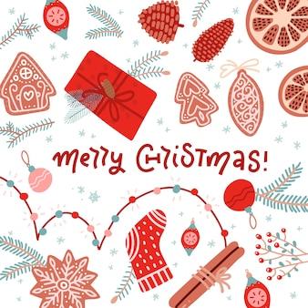 Elementos de decoração de natal com saudação