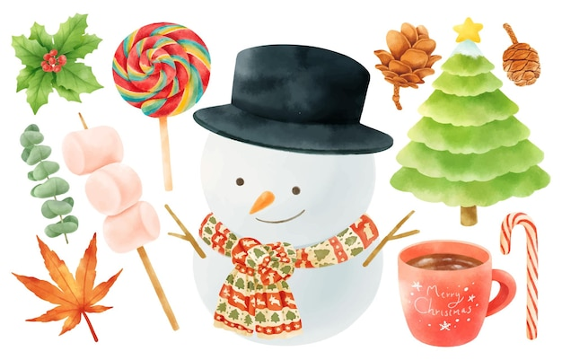 Elementos de decoração de natal, ilustrações e estilos de aquarela