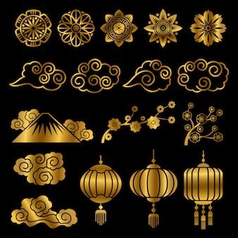 Elementos de decoração de vetor de motivos de japonês e chinês ouro asiáticos
