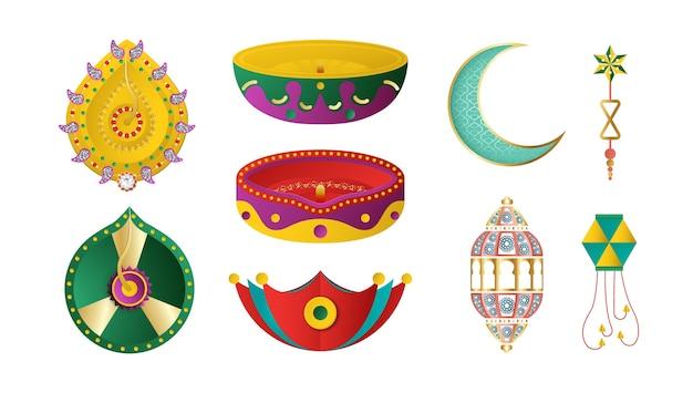Elementos de decoração do festival de diwali