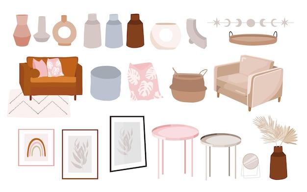 Elementos de decoração e interiores de sala de estar modernos