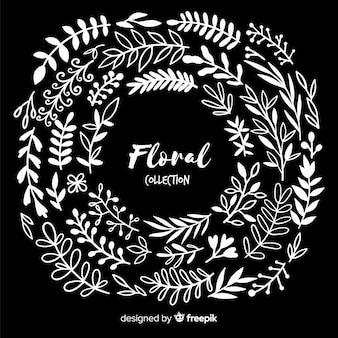 Elementos de decoração floral incolor