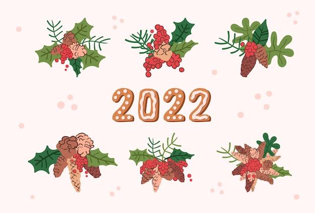 Elementos de decoração para o ano novo e o natal. cones, folhas e frutos. ilustração desenhada à mão