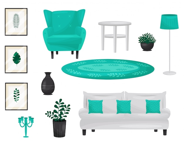 Elementos de decoração para sala de estar. ilustração.