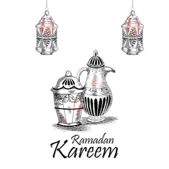 Elementos de desenho à mão do ramadan mubarak