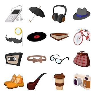 Elementos de desenho animado de estilo hippie. com bicicleta, óculos, bigode