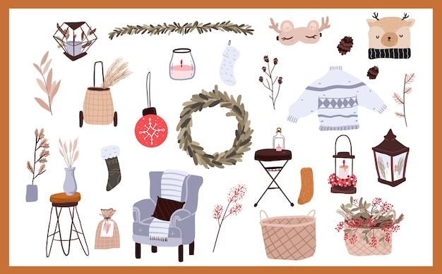 Elementos de desenho animado de natal com adesivos de decoração interna