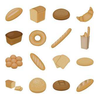 Elementos de desenho animado de pão. ilustração em vetor pão padaria.