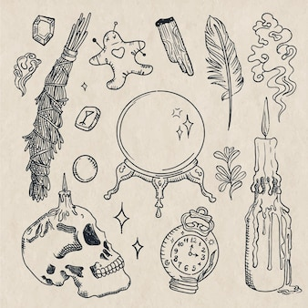 Elementos de desenho de contorno esotérico