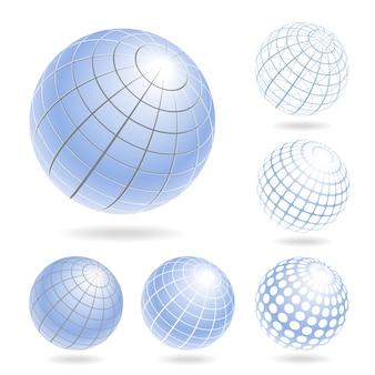 Elementos de desenho vetorial de globos azuis claros
