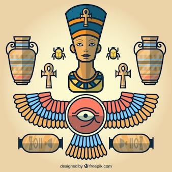 Elementos de desenhos animados egípcios