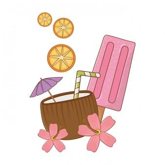 Elementos de desenhos de verão e praia