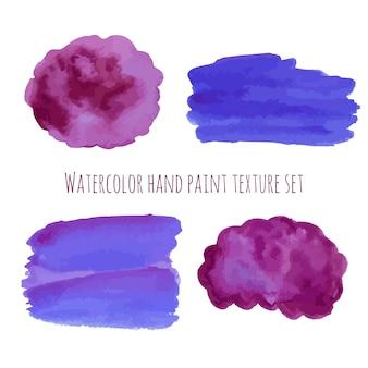 Elementos de design abstrato de aguarela em cores violetas e roxas.