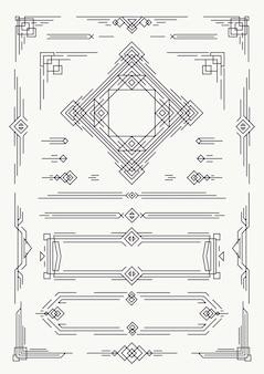 Elementos de design art déco e linhas árabes, cor preta