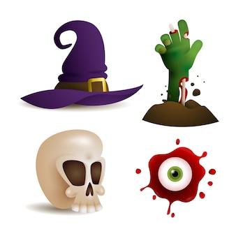 Elementos de design assustador para jogo