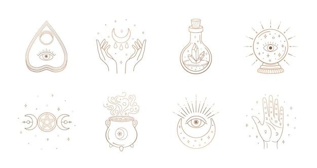 Elementos de design boho místico com olho de lua cheia