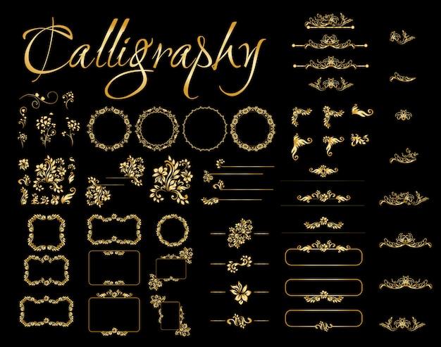 Elementos de design caligráfico dourado sobre fundo preto.