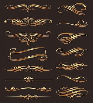 Elementos de design caligráfico dourado.