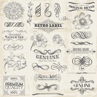 Elementos de design caligráfico e decoração de página