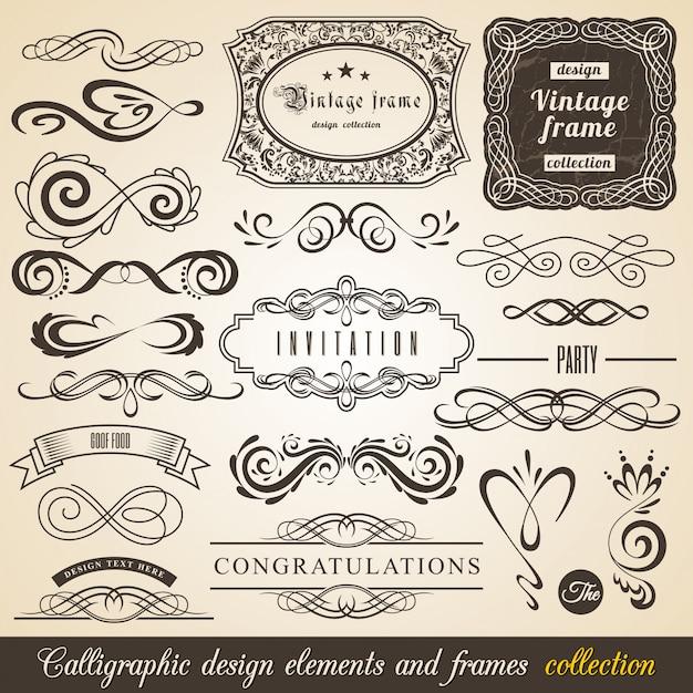 Elementos de design caligráfico e quadros