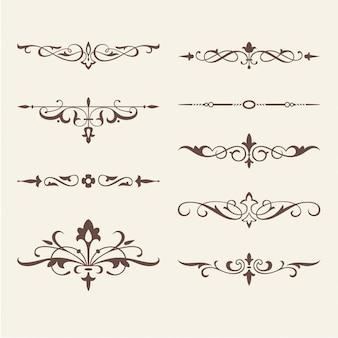 Elementos de design caligráfico enrolado