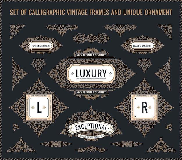 Elementos de design caligráfico vintage floresce quadros retrô