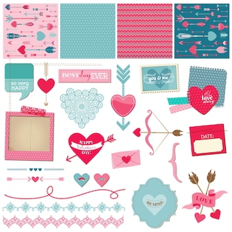 Elementos de design de álbum de recortes, amor, coração e namorados