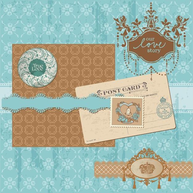 Elementos de design de álbum de recortes - conjunto de casamento vintage