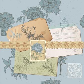 Elementos de design de álbum de recortes - conjunto de pássaros e peônias vintage