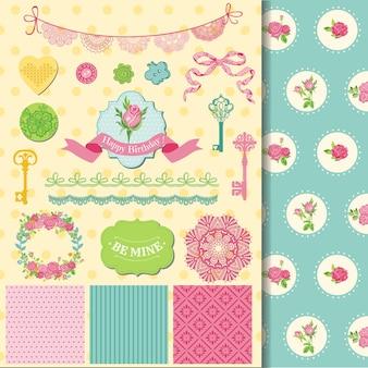 Elementos de design de álbum de recortes floral shabby chic